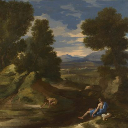 Full title: Landscape with a Man scooping Water from a Stream Artist: Nicolas Poussin Date made: about 1637 Source: http://www.nationalgalleryimages.co.uk/ Contact: picture.library@nationalgallery.co.uk Copyright © The National Gallery, London