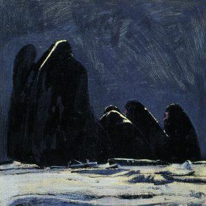 منوچهر معتبر، رنگ روغن و زغال روی مقوا، ۱۳۶۳