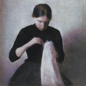 ویلهلم هامرسهوی دختر جوان در حال دوختن-۱۸۸۷ wilhelm hammershoi young girl sewing-1887