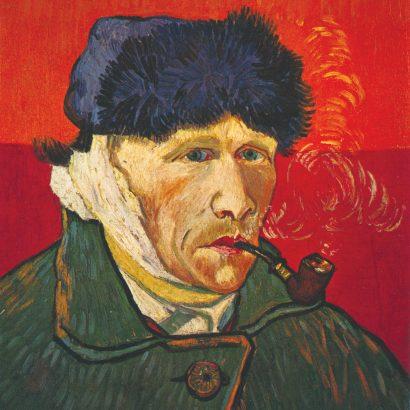 vincent vangogh self portrait-1889 مردی که گوش خود را برید سلف پرترهی معروف ونگوک پس از بریدن گوش خود.
