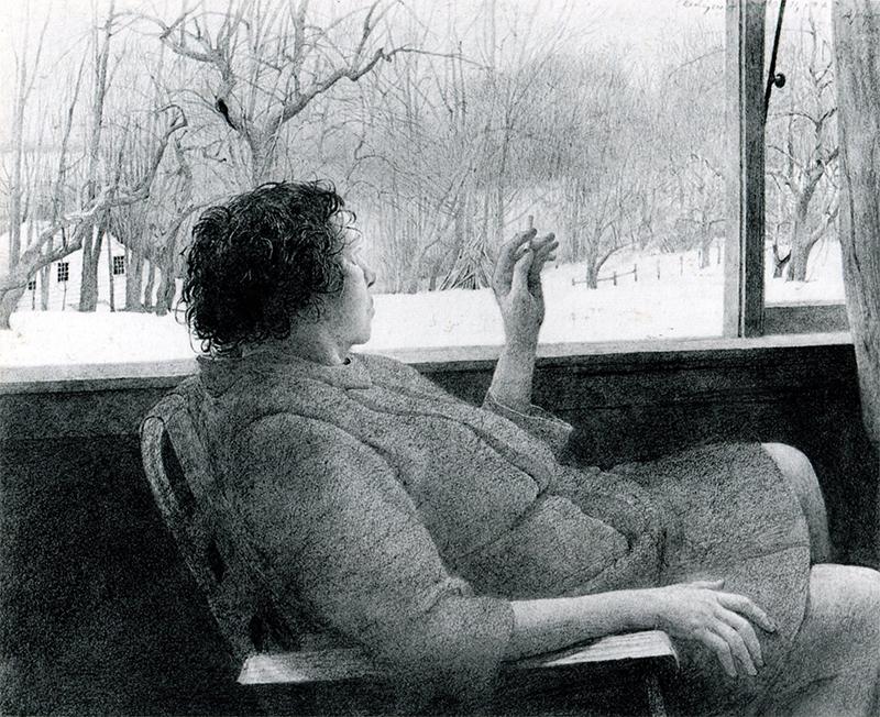 اندرو وایت در این طراحی، خواهر خود را با سیگاری در دست تصویر کرده است. اثر متعلق به سال ۱۹۴۳ است