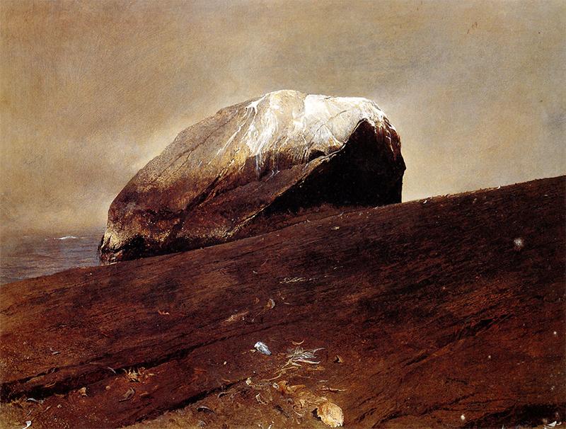 «سنگ چخماق»(۱۹۷۵) اثر اندرو وایت، نقاش رئالیست امریکایی است.