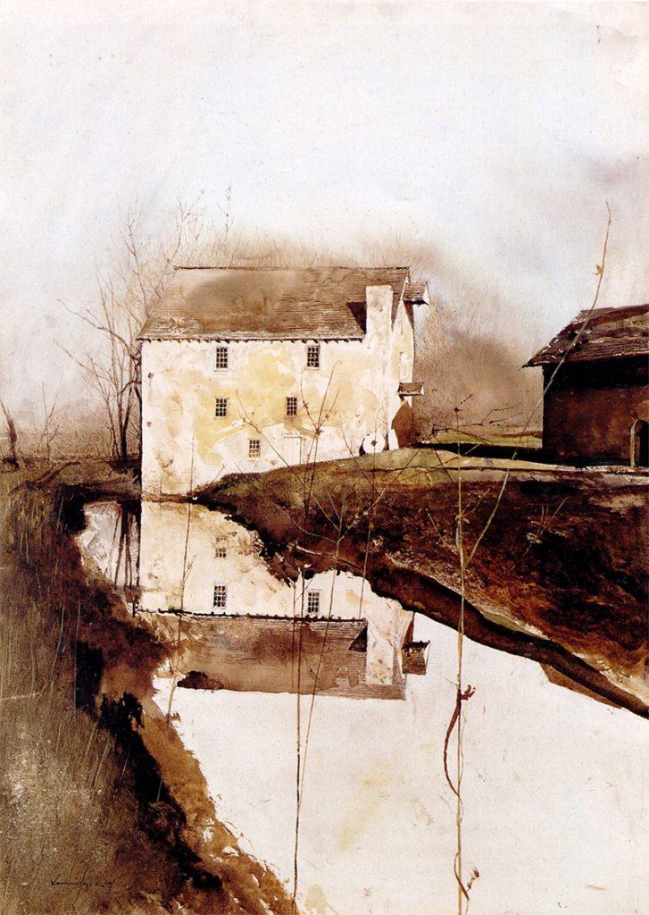 اثر «آسیاب آرد» (۱۹۸۵) از اندرو وایت، نقاش رئالیست آمریکایی