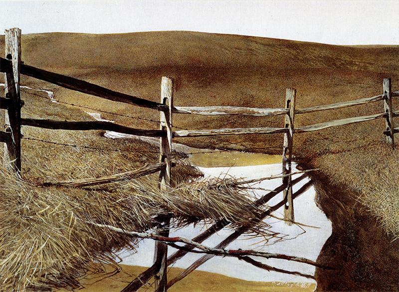 اثری با عنوان آبگرفتگی که اندرو وایت، نقاش آمریکایی در سال ۱۹۹۱ کشیده است.