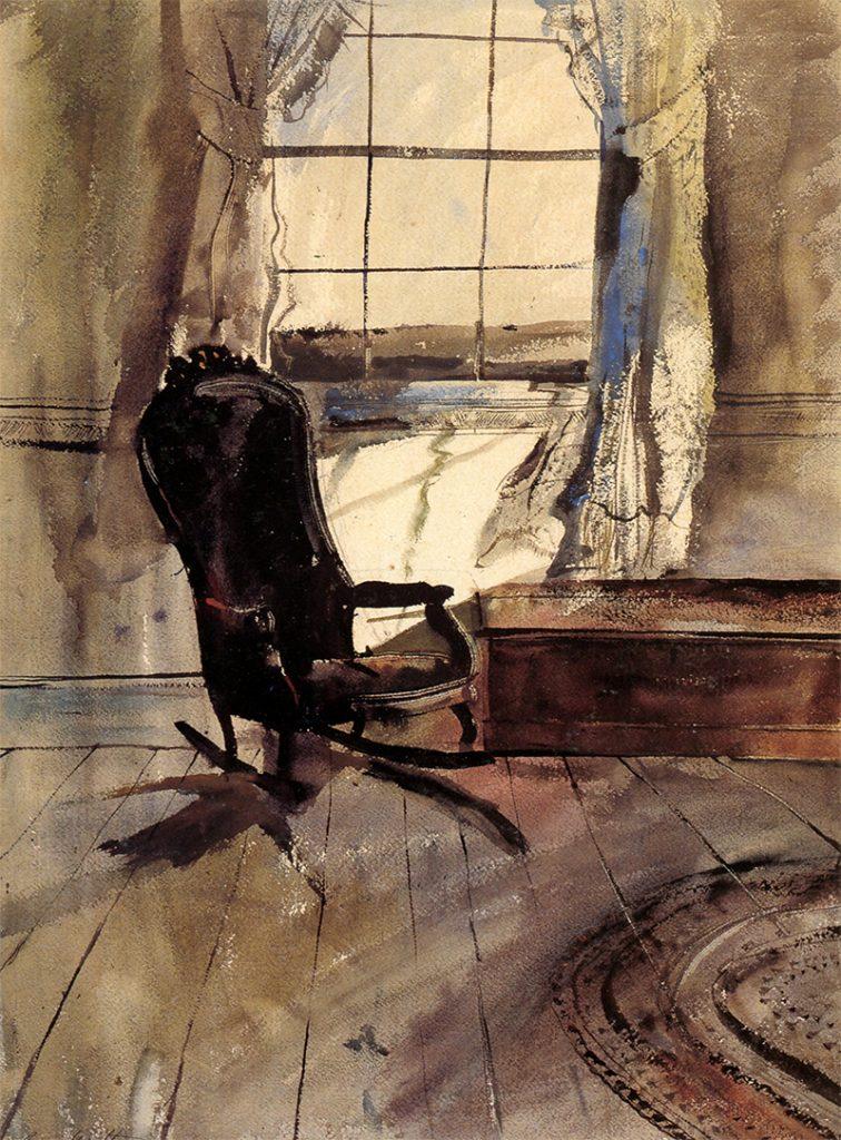 نقاشی اتاق جلویی متعلق به سال ۱۹۴۶ است و اندرو وایت در این نقاشی یک صندلی را در برابر پنجرهای نقاشی کرده است.