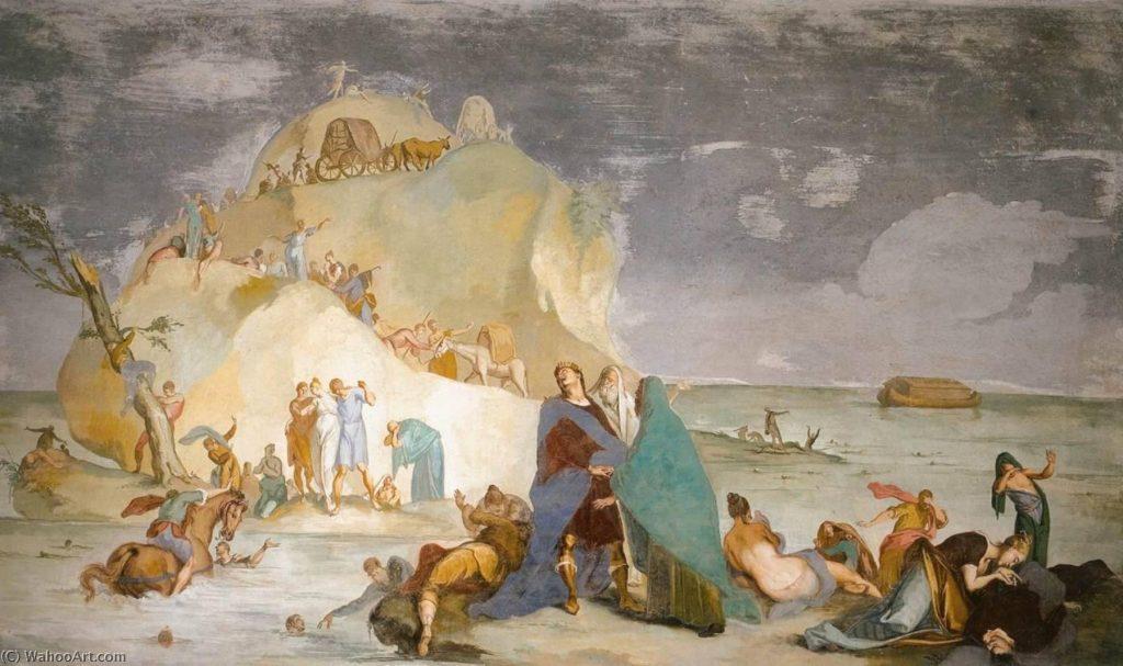 The Flood, 1717 by Mattia Bortoloni (1695-1750) سیل، اثر ماتیا برتولونی