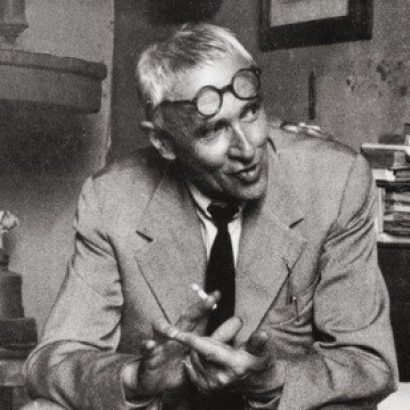 Morandi in his studio, at his family home, in Bologna.