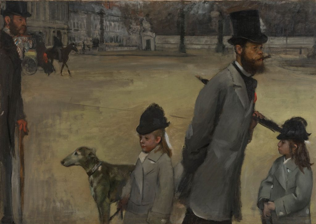 Place de la Concorde or Viscount Lepic and his Daughters Crossing the Place de la Concorde is an 1876 oil painting by Edgar Degas. ادگار دگا میدان کنکورد پاریس در سده‌ی نوزدهم تجربه‌ی مدرنیته فلانور،