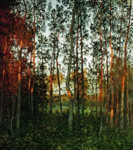 The last rays of the sun. Aspen forest., 1897