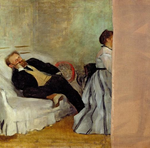 Edgar Degas, Monsieur et Madame Édouard Manet (Mr. and Mrs. Édouard Manet), ca. 1869. Oil on canvas