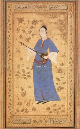 Woman with a Lute, Iran, Isfahan, circa 1600-1610, Ink, opaque watercolor, and gold on paper, (36 x 23.4 cm)